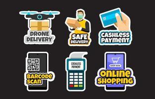 Contactless Technology Sticker Set vector