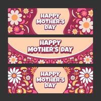 feliz dia de la madre conjunto de banners vector