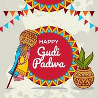 Gudi Padwa Celebration Design vector