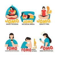 Multiple Depictions of FOMO VS JOMO vector