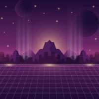Retro Futurism Background with Mountain and Cityscape vector