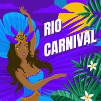 bailarina del festival de río con fondo morado vector