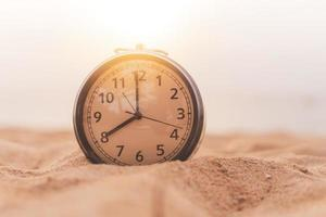 Selective focus of alarm clock with nature background