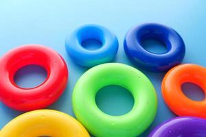 Baby toys on color background photo