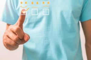 Customer ticks the satisfaction symbol graphic