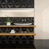 Interior of a stylish bathroom in 3D rendering photo