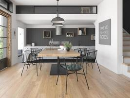 Modern style interior design of a home in 3D rendering