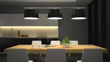 Vista nocturna de un moderno comedor interior en 3D.