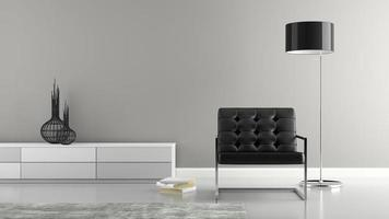 Part of a stylish interior with a black armchair in 3D rendering