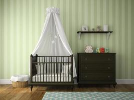 Classic children's room with a cradle in 3D rendering