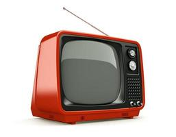 Red retro TV isolated on a white background photo