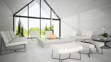 Interior of a modern design living room in 3D rendering
