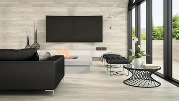Interior de una sala de estar de diseño moderno en 3D. foto