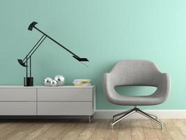 Interior with a modern grey armchair in 3D rendering