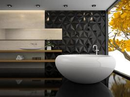Interior of a stylish bathroom in 3D rendering