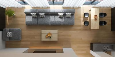 Top view of an interior of a modern living room in 3D rendering