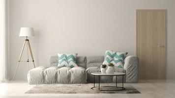 Interior de una moderna sala de estar con sofá y muebles en 3D.