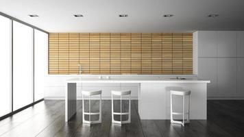 Interior de una cocina de diseño moderno en 3D. foto
