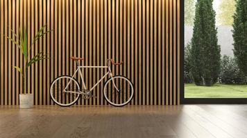 Interior of a modern living room with a bicycle in 3D rendering photo