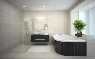 Interior of a modern bathroom with a jacuzzi in 3D rendering