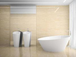 Interior of a modern marble design bathroom in 3D rendering photo