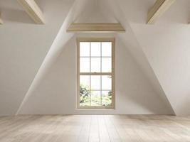 Empty attic interior room in 3D illustration