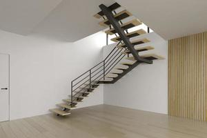 Interior empty room with a staircase in 3D rendering