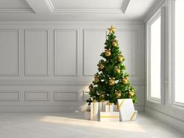 Interior with a Christmas tree and gift boxes in 3D illustration photo