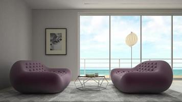 Interior modern design room with a sea view in 3D rendering photo