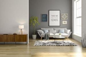 Interior of a modern living room with a sofa and furniture in 3D rendering