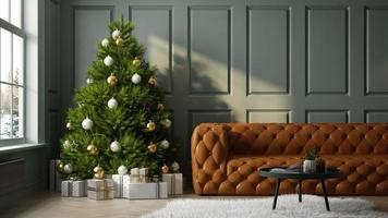 Interior of modern living room with a Christmas tree in 3D rendering