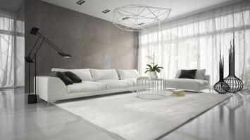 Interior of a modern design room with a white couch in 3D rendering