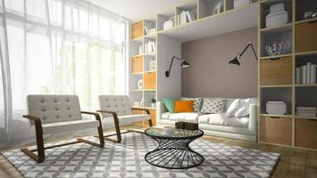 Interior of a modern design room with two white armchairs in 3D rendering