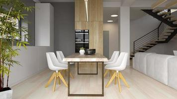 Interior of a modern dining room in 3D rendering photo