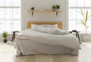 Interior design of a Scandinavian-style bedroom in 3D rendering