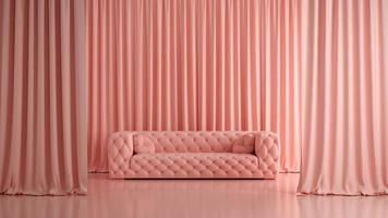 Monochrome pink-colored empty interior room background in 3D illustration