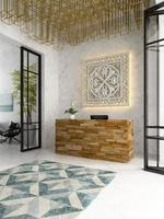 Interior of a hotel and spa reception in 3D illustration