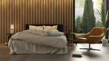 Interior design of a Scandinavian-style bedroom in 3D rendering