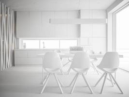 diseño de interiores blanco en representación 3d foto
