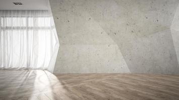 Empty room with broken concrete wall in 3D rendering