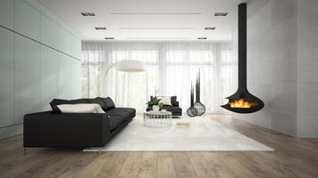 Interior of a modern room with a fireplace in 3D rendering