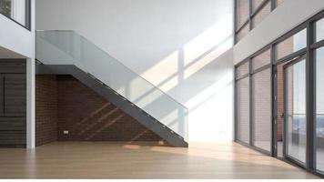 Empty modern interior room in 3D illustration