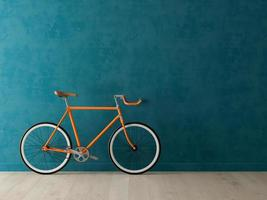 Orange bicycle on a blue background in 3D illustration photo