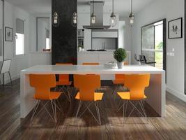diseño de interiores de estilo escandinavo en renderizado 3d