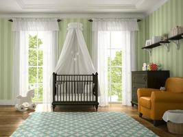 Classic children's room with a brown cradle in 3D rendering