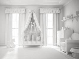 Classic children's room white color 3D rendering