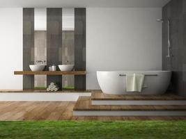 Interior of a bathroom with grass in 3D rendering photo