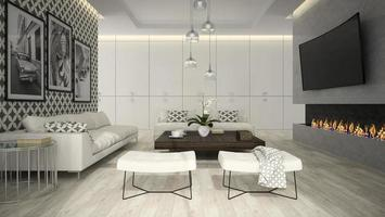 Interior of a living room with stylish wallpaper in 3D rendering