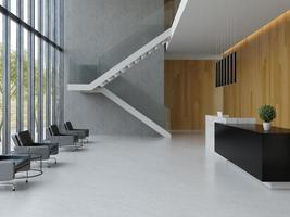 Interior of a hotel office lobby spa reception area in 3D illustration