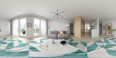 Proyección panorámica esférica de 360 de un diseño de interiores de estilo escandinavo en representación 3D